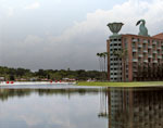 Disney: Beach and Lake from Swan-Dolphin Causeway